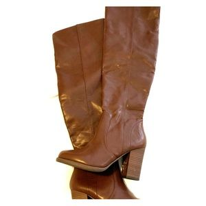Brown Leatherette Knee High Boot